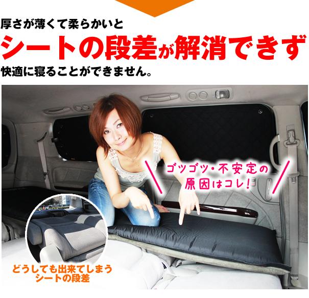 厚さが薄くて柔らかいとシートの段差が解消できず快適に寝ることができません。