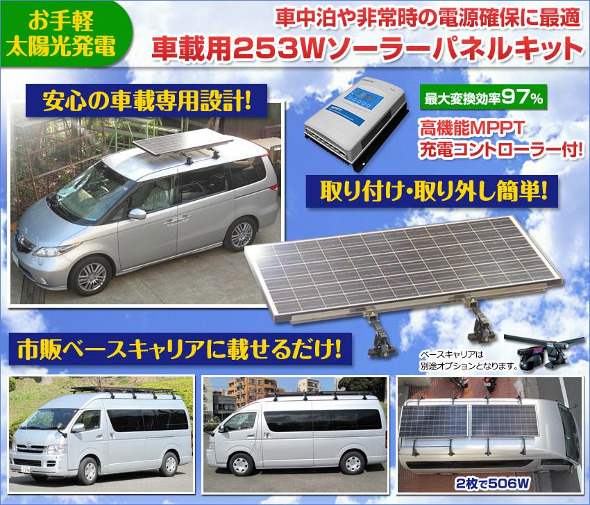 車載用 253W ソーラーパネルキット!