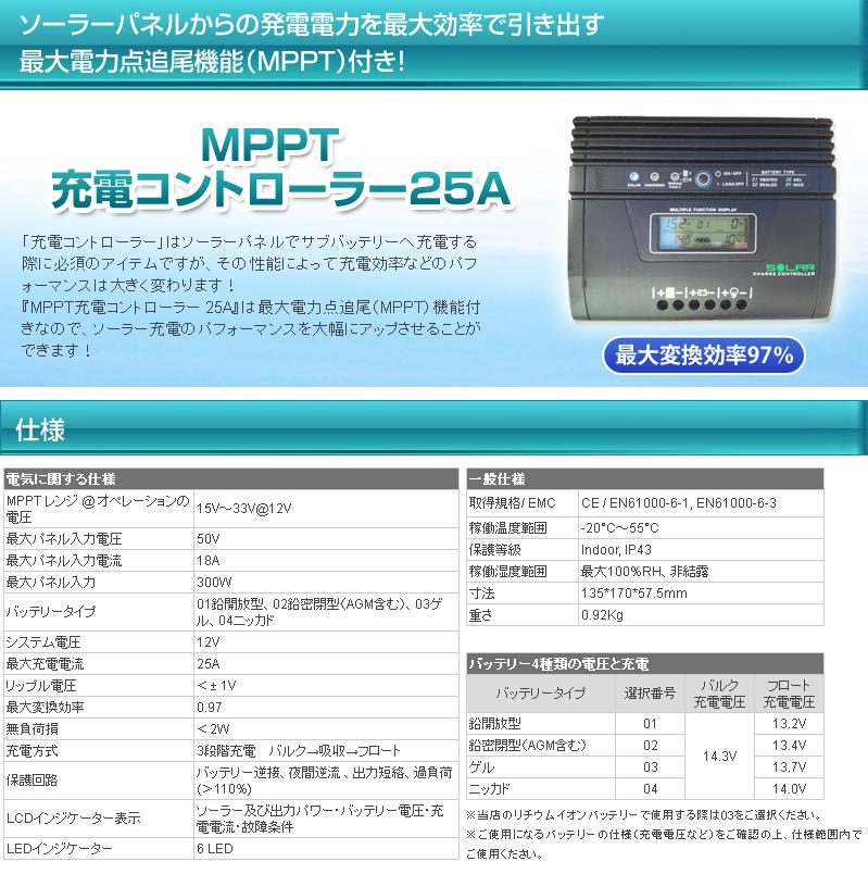 車載用 245W ソーラーパネルキット MPPT充電コントローラー 25A