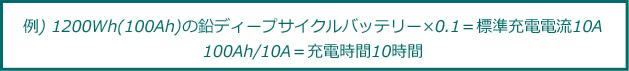 例) 1200Wh(100Ah)の鉛ディープサイクルバッテリー×0.1=標準充電電流10A・100Ah/10A=充電時間10時間