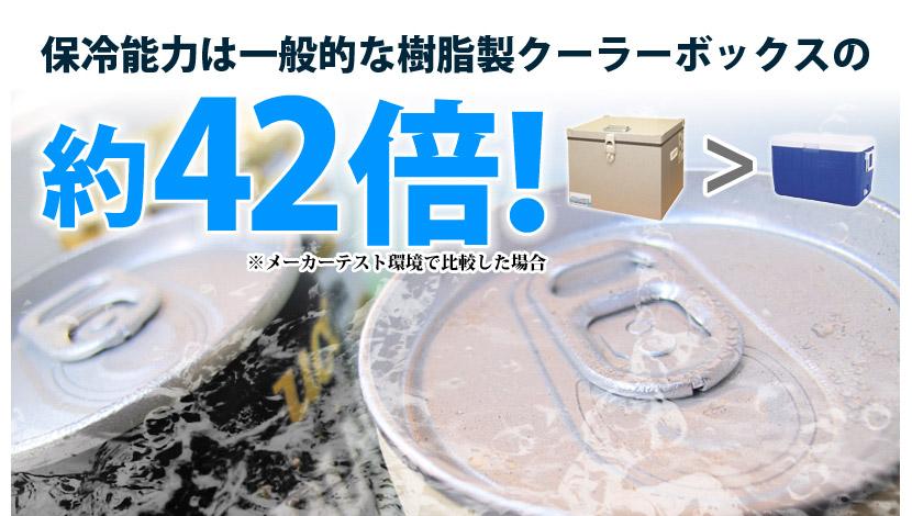 保冷能力は一般的な樹脂製クーラーボックスの約42倍!