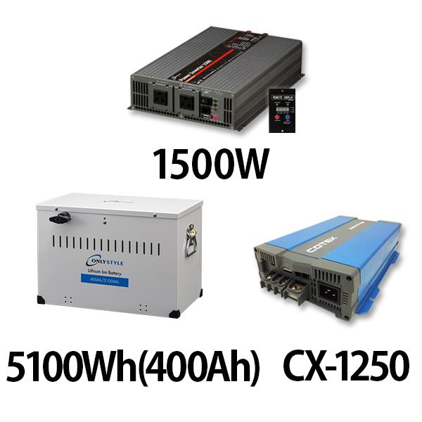 パワーインバーター 1500W + リチウムイオンバッテリー5100Wh(400Ah) + CX-1250