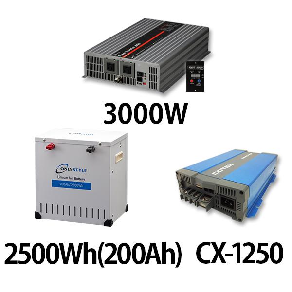 パワーインバーター 3000W + リチウムイオンバッテリー2500Wh(200Ah) + CX-1250
