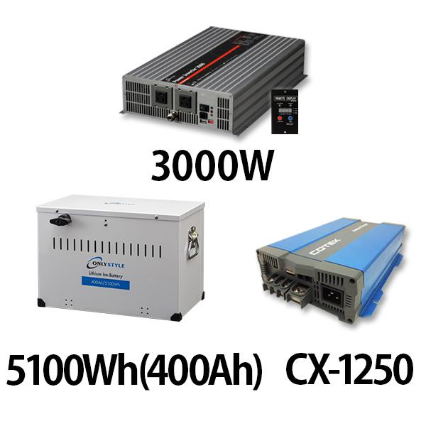 パワーインバーター 3000W + リチウムイオンバッテリー5100Wh(400Ah) + CX-1250
