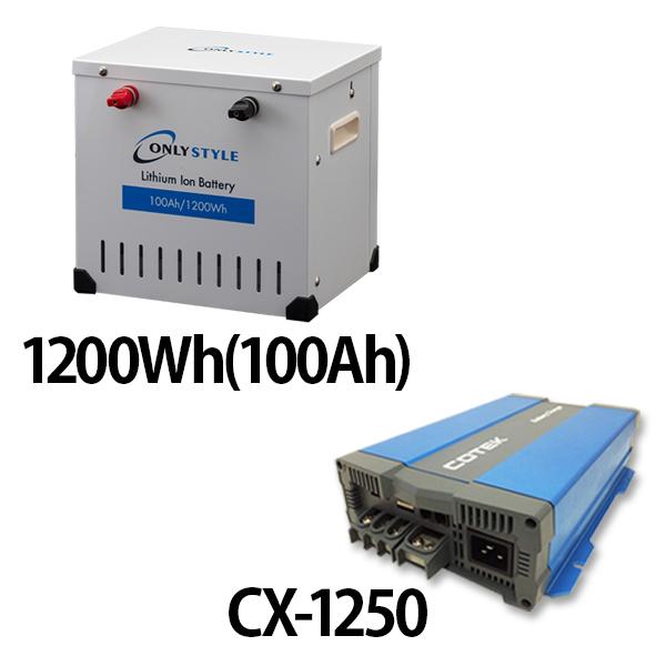 リチウムイオンバッテリー1200Wh(100Ah)+CX-1250